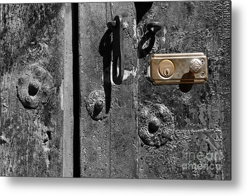 Still Life Metal Print featuring the photograph New Lock On Old Door 2 by James Brunker