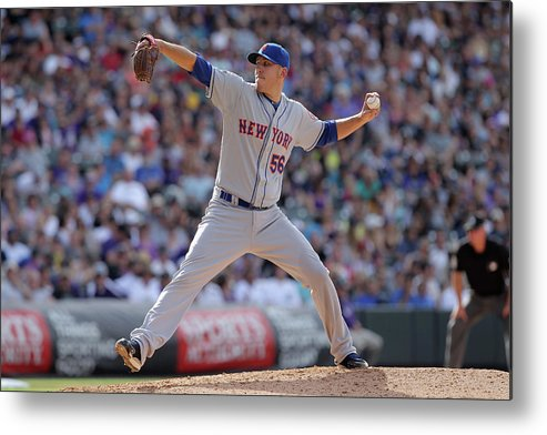 Relief Pitcher Metal Print featuring the photograph New York Mets V Colorado Rockies by Doug Pensinger