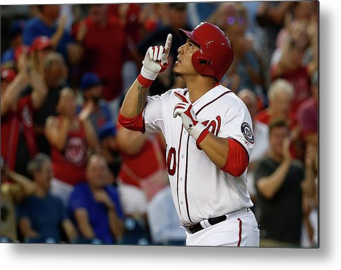 People Metal Print featuring the photograph New York Mets V Washington Nationals by Rob Carr