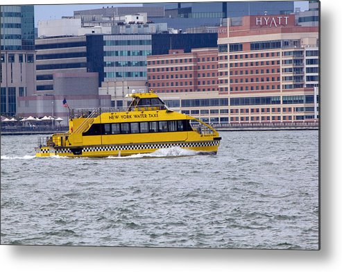 New York Water Taxi Metal Print featuring the photograph New York Water Taxi by Susan Jensen