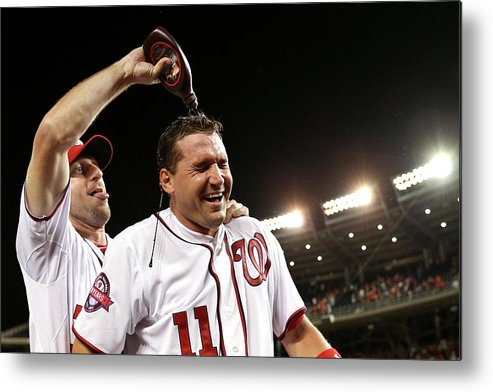 People Metal Print featuring the photograph New York Yankees V Washington Nationals by Patrick Smith
