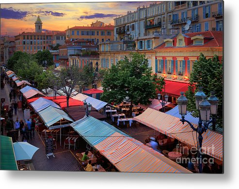 Cote D'azur Metal Print featuring the photograph Nice Flower Market by Inge Johnsson