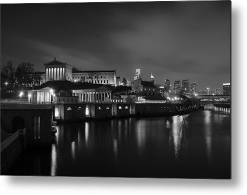 Night Metal Print featuring the photograph Night At Waterworks In Black And White by Bill Cannon