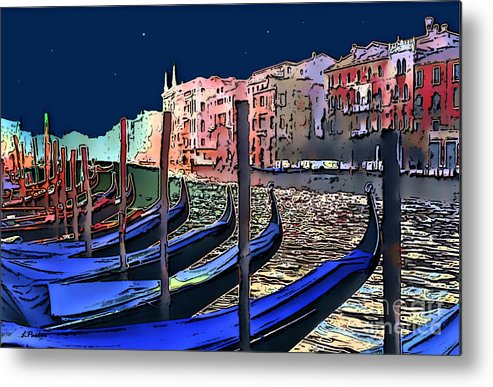 Impressionism Metal Print featuring the photograph Night Falls In Venice by Linda Parker