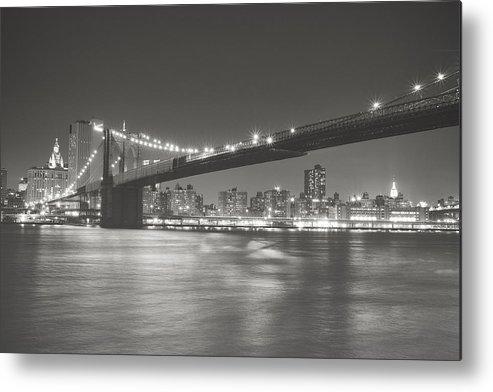 Nyc Metal Print featuring the photograph Night - New York City - Brooklyn Bridge by Vivienne Gucwa