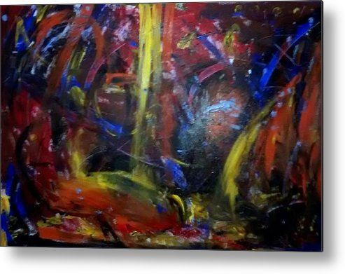 Dark Warm Cold Metal Print featuring the painting Night by Travis Fors