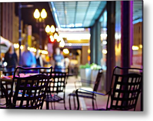 City At Night Metal Print featuring the photograph Nightlife by Sharon Popek