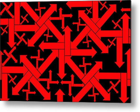 Abstract Arrows Metal Print featuring the digital art No Direction 1 by Mike McGlothlen