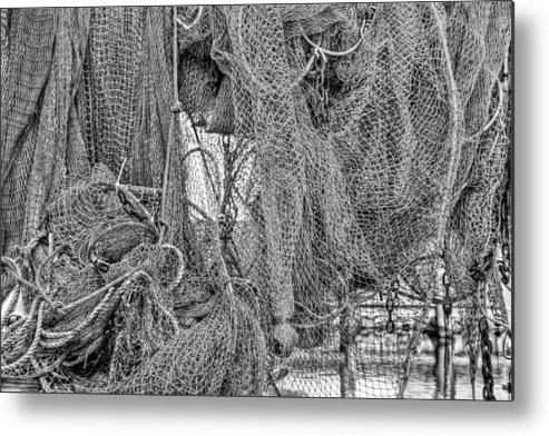 Fishing Net Metal Print featuring the photograph Nothing But Net Black And White by JC Findley