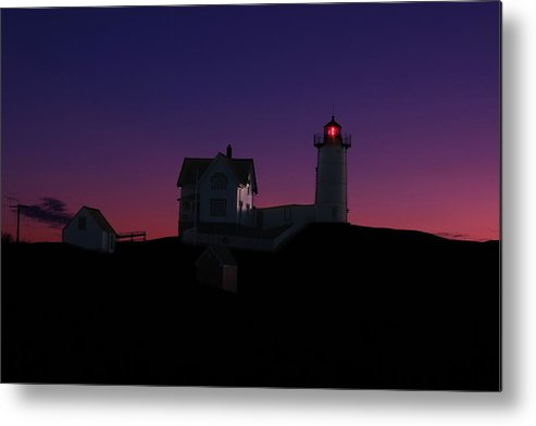 York Metal Print featuring the photograph Nubble At Night by Andrea Galiffi