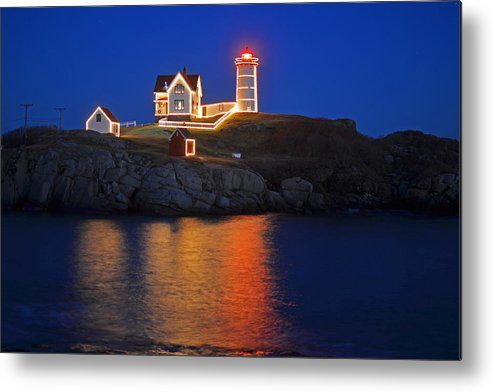 York Metal Print featuring the photograph Nubble Light In York Me Cape Neddick Christmas Blue Sky by Toby McGuire