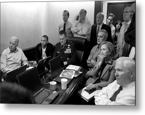 Bin Laden Raid Metal Print featuring the photograph Obama In White House Situation Room by War Is Hell Store