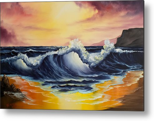 Seascape Metal Print featuring the painting Ocean Sunset by Chris Steele