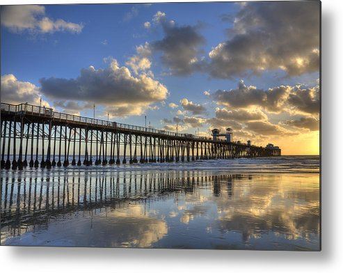 California Metal Print featuring the photograph Oceanside Pier Sunset Reflection by Peter Tellone