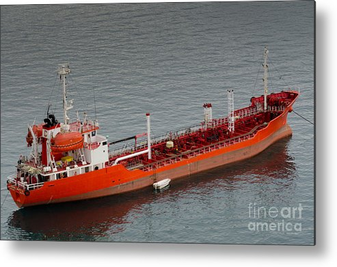 Oil Metal Print featuring the photograph Oil Tanker Karol Wojtyla Valetta Malta by Andy Smy