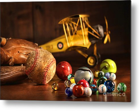 Aged Metal Print featuring the photograph Old Baseball And Glove With Antique Toys by Sandra Cunningham