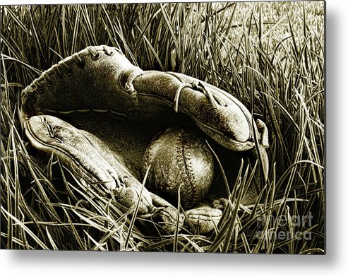 American Metal Print featuring the photograph Old Baseball Glove With Ball In The Grass by Sandra Cunningham