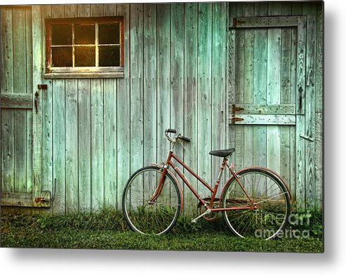 Autumn Metal Print featuring the photograph Old Bicycle Leaning Against Grungy Barn by Sandra Cunningham