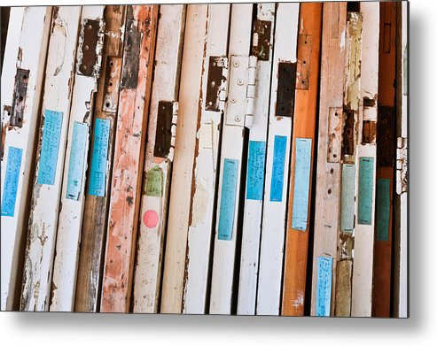Abstract Metal Print featuring the photograph Old Doors by Tom Gowanlock