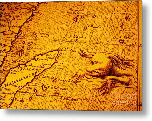 Map Of Africa Madagascar.Old Map Of Africa Madagascar With Sea Monster Metal Print