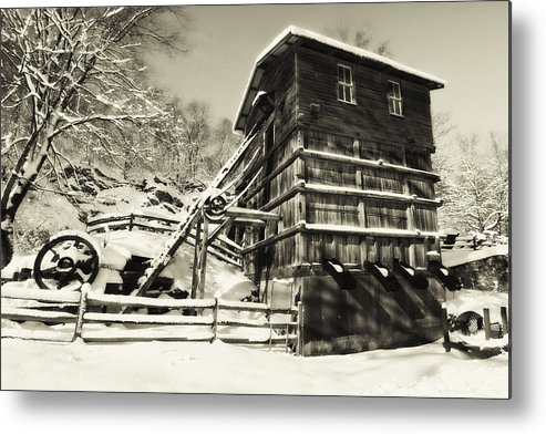 Scenic Metal Print featuring the photograph Old Snow Covered Quarry Mill by George Oze