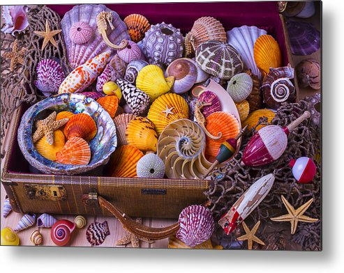 Suitcase Full Sea Shells Travel Metal Print featuring the photograph Old Suitcase With Seashells by Garry Gay