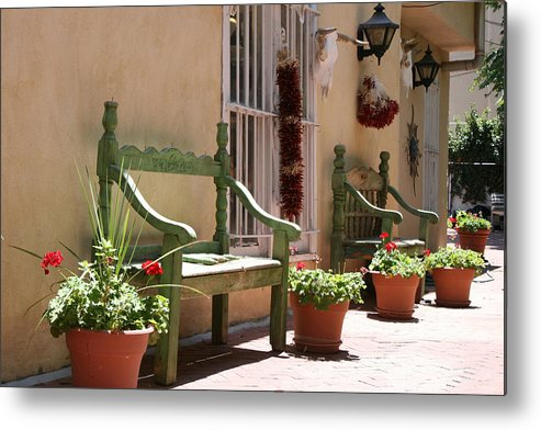 Old Town Metal Print featuring the photograph Old Town Albuquerque Green Bench by Val Isenhower