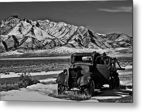 Black And White Metal Print featuring the photograph Old Truck by Robert Bales