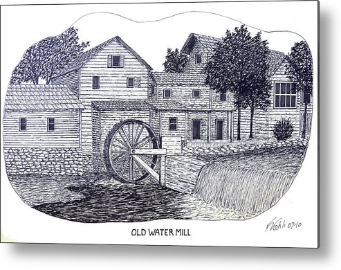 Ink Metal Print featuring the drawing Old Water Mill by Frederic Kohli