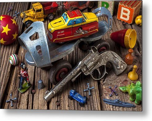 Collection Metal Print featuring the photograph Older Roller Skate And Toys by Garry Gay