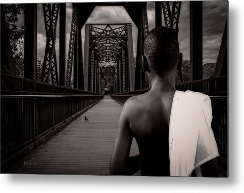 Bird Watching Metal Print featuring the photograph One Boy One Pigeon One Bridge by Bob Orsillo