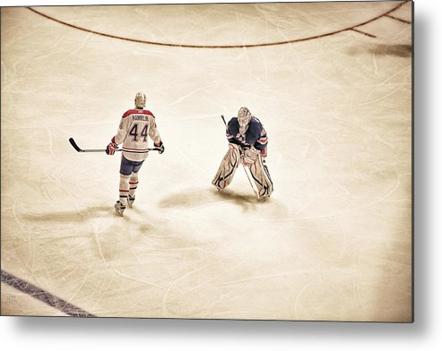 Hockey Metal Print featuring the photograph Opponents by Karol Livote