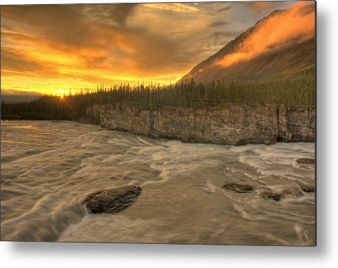 Light Metal Print featuring the photograph Orange Sunset On Sluice Box Rapids by Peter Mather