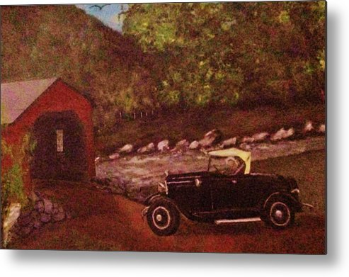 1929 Ford Model A Metal Print featuring the painting Out For A Drive by David Earl Tucker
