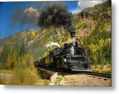 Steam Train Photographs Metal Print featuring the photograph Over The Animas River by Ken Smith