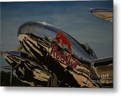 Warbirds Metal Print featuring the painting P38 Red Bull Lightning Warbird by Richard John Holden RA