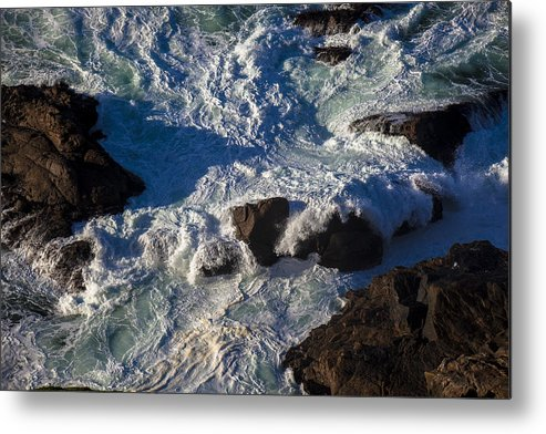 Gorgeous Metal Print featuring the photograph Pacific Ocean Against Rocks by Garry Gay