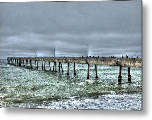 Beach Metal Print featuring the photograph Pacifica Fishing Pier 7 V2 by SC Heffner