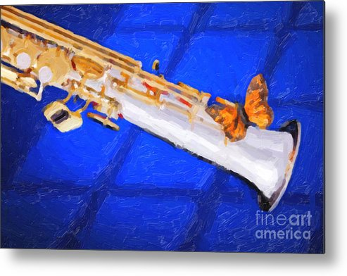 Soprano Sax Metal Print featuring the painting Painting Of A Soprano Saxophone And Butterfly 3352.02 by M K Miller