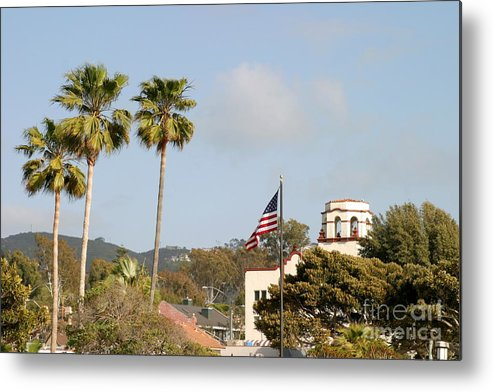 America Metal Print featuring the photograph Palm Tree Flag by Henrik Lehnerer