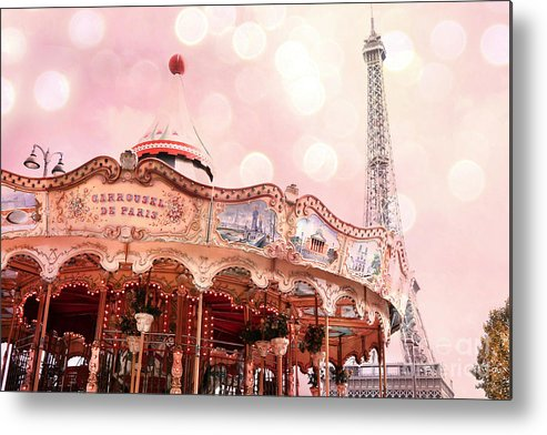 Paris Carousels Metal Print featuring the photograph Paris Carrousel De Paris - Eiffel Tower Carousel Merry Go Round - Paris Baby Girl Nursery Decor by Kathy Fornal