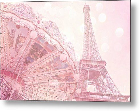 Paris Metal Print featuring the photograph Paris Dreamy Pink Carousel And Eiffel Tower - Eiffel Tower Carousel - Paris Baby Girl Nursery Room by Kathy Fornal