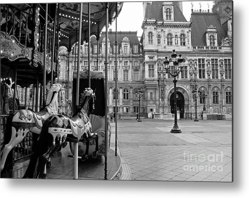 Paris Black And White Fine Art Photography Metal Print featuring the photograph Paris Hotel Deville Black And White Photography - Paris Carousel Merry Go Round At Hotel Deville by Kathy Fornal
