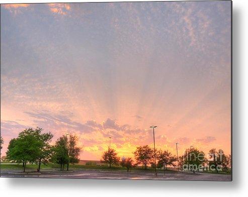 Illinois Metal Print featuring the photograph Parking Lot Sunset Spray by Deborah Smolinske