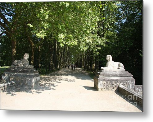 Egyptian Statue Metal Print featuring the photograph Parkway Chateau Chenonceaux France by Christiane Schulze Art And Photography