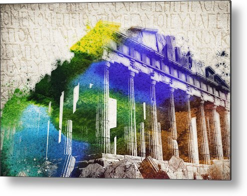 Parthenon Metal Print featuring the digital art Parthenon by Aged Pixel