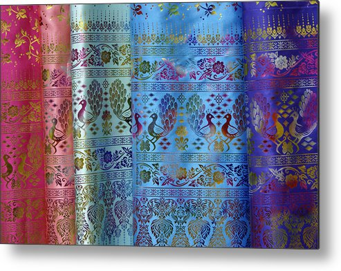 Asia Metal Print featuring the photograph Peacocks On Silk by Michele Burgess