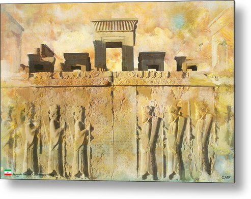 Iran Art Metal Print featuring the painting Persepolis by Catf