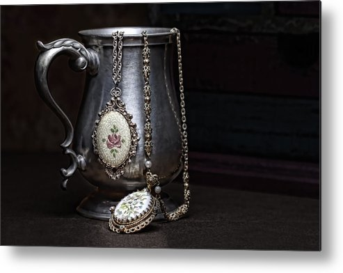 Jewelry Metal Print featuring the photograph Pewter Cup Still Life by Tom Mc Nemar
