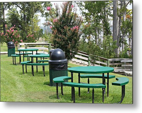 Table Metal Print featuring the photograph Picnic Area by Carolyn Ricks